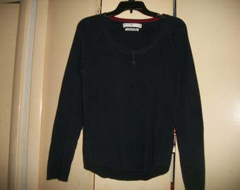 Womens Vintage Tommy Hilfiger Navy Ribbed Cotton Sweater Size M