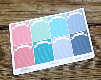 Cinderella // Full Boxes, BASICS, Planner Stickers, Pastel Tones, Erin Condren, Happy Planner, Blank Labels, Blank Boxes, Journaling Sticker