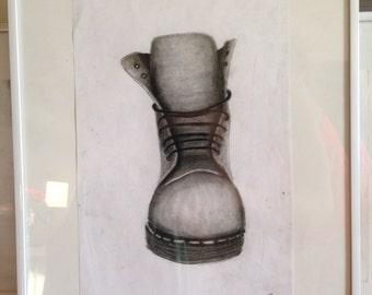 Face to face Dc Martens framed original drawing