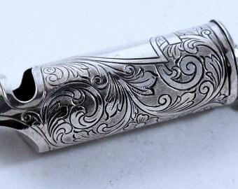 Sterling Whistle Art Nouveau Match Safe   323