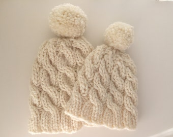 Mom & Little Matching Chunky Cable Knit Toque Set