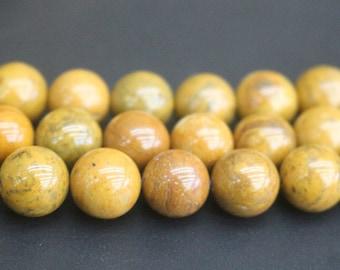 8mm/10mm Yellow Petrified Wood Jasper Beads,Smooth and Round Stone Beads,15 inches one starand