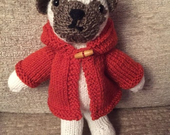 Knitted Pug with duffle coat