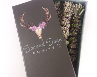 Sage Smudge Stick Trio: Lavender, Sage, Rosemary - LIMITED EDITION - Gift Box of 3 Clears Negativity, Meditation, Cleansing, Spiritual, Yoga