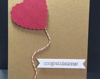 Baby Card, Congratulations New Baby Card, Handmade Card, Kraft Baby Card, Balloon Card, Stampin Up Card