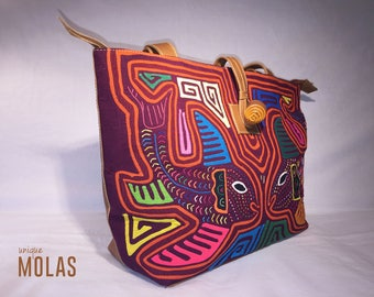 Handmade Shoulder Mola and Leather Tote Bag