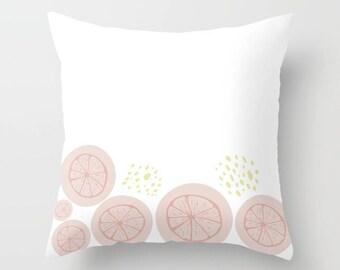 White Throw Pillow, Pink Grapefruit Pillow, Decorative Pillows, Outdoor  Pillow, Square Pillow