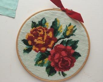 O N E  O F  A  K I N D - Vintage Red Velvet Embroidery Ring