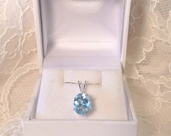 Natural Sky Blue Topaz Pendant