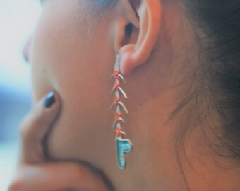 Turquoise Statement Mismatched Unique Earrings for Women, Silver Assymetrical Summer Earrings, Fish Earrings, Special Gift for Girlfriend