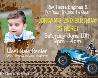 Monster Truck Birthday Party Invitation DIGITAL
