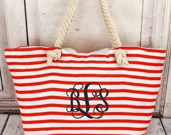 Monogrammed rope handle tote, striped beach tote