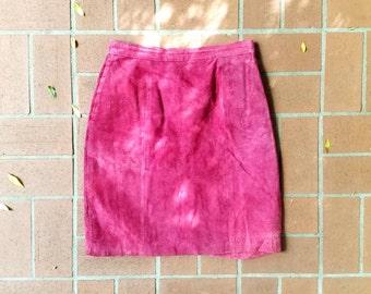 Vintage Fushia Suede Skirt, Vintage Suede Skirt, Short Suede Skirt, Short Leather Skirt, Pink Suede Skirt, Vintage Pink Skirt, 80s Skirt