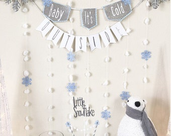 Baby its cold outside banner, winter baby shower, winter onederland baby shower decoration, boy baby shower decoration, fall baby shower