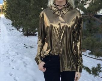 Vintage Gold 80s blouse Size L Button Up