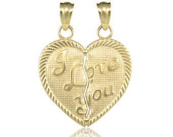 10K Solid Yellow Gold I Love You Half Heart Pendant - Necklace Charm