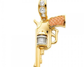 14K Solid Yellow White Rose Gold Cubic Zirconia Pistol Gun Pendant - Revolver Hand Necklace Charm Men's Women's