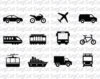 Transport Cars SVG, Trucks Trains Ships Bikes Moto Clip art, Digital dowload, Vector files for silhouette and Cricut, Monogram file set