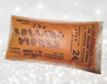 Cushion The Rolling Stones 1978 concert ticket Pillow from the 'Concert Pillows' collection