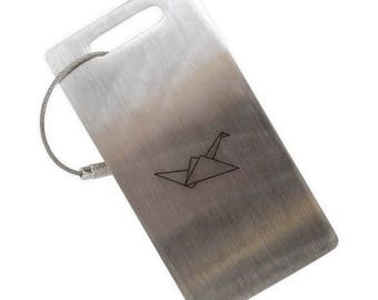 Paper Crane Stainless Steel Luggage Tag