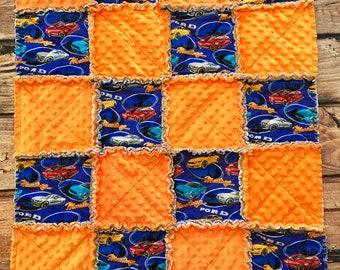 Baby Rag Quilt, Mustang, Baby Blanket, Orange