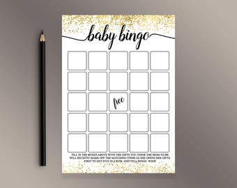 Baby Bingo, Baby Shower Bingo, Baby Shower Games Printable, Gold Confetti Baby Shower ideas, Bingo Cards, Funny Baby Shower activity
