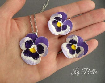 Set pendant and earrings, polymer clay violet, pansy, flowers, fimo jewelry, polymer clay blossom, complete, kit