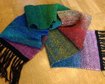 Rainbow Handwoven Wool Scarf Fashion scarf