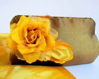 Bronze and Yellow Boutique Clutch, Chic Purse, Bronze Satin Clutch, Elegant Clutch, Mother of Bride Clutch, Classy Clutch, Prom, Unique Bag