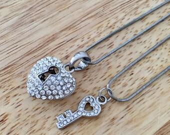 Best Friends Set,  Heart Lock Necklace, Key Necklace, Silver Lock Charm, Silver Key Charm, Lock Cubic Zirconia, Cubic Zirconia Key