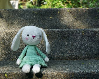 Mint amigurumi bunny - Handmade crochet rabbit