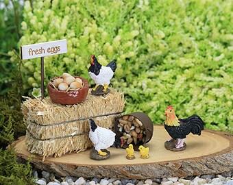 Chicken & Free Range Egg Set, Cockerel, Chicks, Hay Bale, Basket of Eggs, Farm Animal, Fairy Garden Accessory, Miniature Garden, Farm Yard