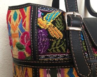 Sale !!!!Handbag Leather and Mayan Guipil from Guatemala