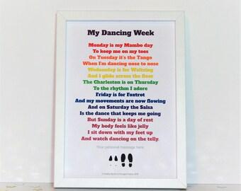Funny Dancing poem, My Dancing Week poem, Mambo, Tango, Waltz, Charleston, Foxtrot, Salsa,  poem about ballroom dancing,  ballroom dancing,
