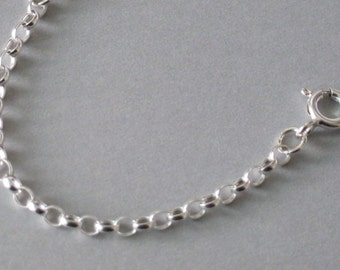 "925 Sterling Silver Belcher 2.5mm x 3mm Chain Bracelet Necklace Ankle Chain Anklet Length 6"" - 24"" inches"