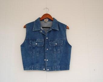 Vintage 90s Grunge Indigo Denim Blue Medium Wash Cropped Vest Outerwear - Layering Piece