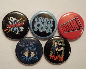 5 x Wham! 1'' Pin Button Badges ( wham george michael fantastic make it big )