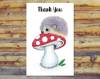 Hedgehog Thank You Cards, Printable Greeting Cards, Digital Download, Blank Cards, Instant Download, Cute Hedgehog Art, Digital Printable