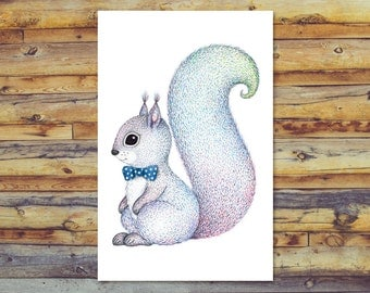 Printable Card, Squirrel Card, Digital Download, Blank Card, Instant Download, All Occasion Cards, Digital Printable, Squirrel with Bow Tie