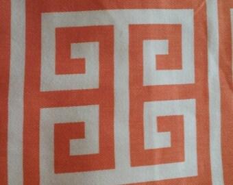 Home decor fabric, orange and white fabric, orange, fabric remnants, Greek Key, Premier Prints Towers, fabric