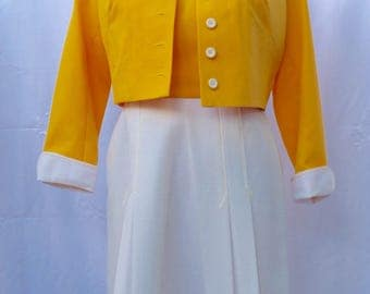 1970s  Yellow with white trim dress and jacket