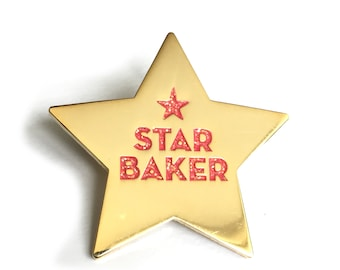 Star Baker Gold Pin Enamel Pink Glitter Letter Gift for Baking Enthusiast Made in the UK Badge Game Christmas Gifts Great British Bake Off
