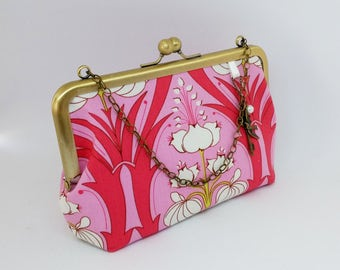 Light Art Deco Lotus Flower Kiss Lock Clutch Purse with Charms