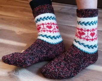 Hand made knitted socks, man, size 42-44, wool, acrylic, mohair, Christmas, hearts, St. Valentine