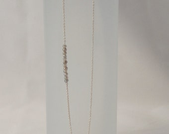 LABRADORITE row necklace. Sterling silver necklace with facetted natural gemstones.