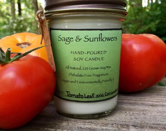 Tomato Leaf and Coriander Hand-Poured Soy Candle (8oz, sustainable, earth-friendly, natural, spring, essential oils, housewarming gift)