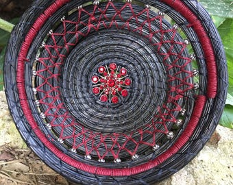 Black and Red Hand Coiled Pine Needle Basket| With Rhinestone Center Handmade Pine needle Basket| Perfect Wedding Gift