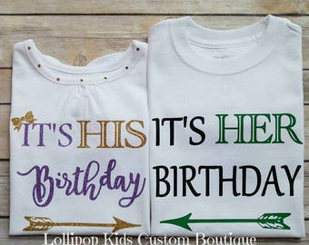 Twins/Sibling white short sleeve Birthday Shirt