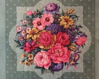 Fabric panel -Beautiful two square floral panel for pillow or wall hanging