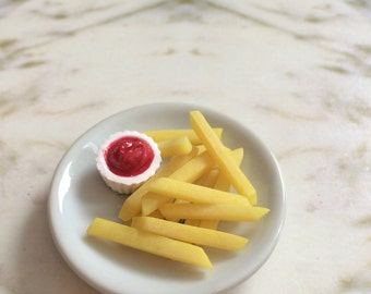 """Doll food for American Girl doll and 18"""" dolls,  1:3 scale french fries with ketchup"""
